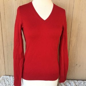 Talbots %100 pure Cashmere red Christmas sweater M